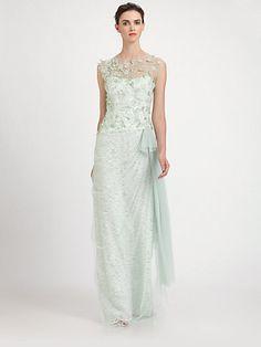 Teri Jon - Tulle Overlay Lace Gown - Saks.com