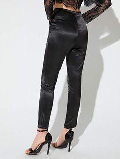 Satin Trousers, Type Of Pants, Lingerie Sleepwear, Pocket Detail, Female Form, Spandex Material, Black Pattern, Autumn Summer, Satin Fabric