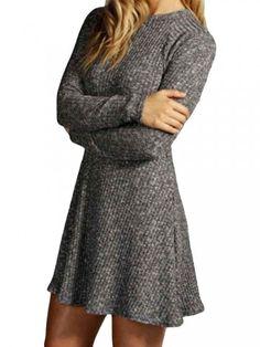 Mujeres ocasionales sólidas O Cuello de manga larga plisada Knit Suéteres de vestir