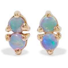 Wwake Two Step 14-karat gold opal earrings ($280) ❤ liked on Polyvore featuring jewelry, earrings, accessories, gold, 14 karat gold jewelry, post back earring, earring jewelry, post earrings and 14 karat gold earrings