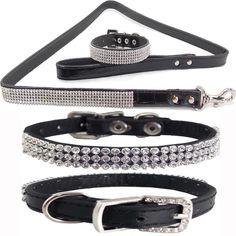 Collar y Correa de Perro Cuero Cocodrilo Negro Diamantes Tamaño Extra Pequeño  #Unbranded