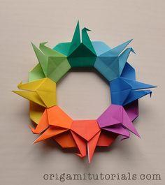 Origami Crane Wreath Tutorial                                                                                                                                                                                 More