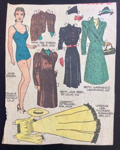 Jane Arden Sunday Funny Paper Doll, 1930's, Uncut Newspaper Panel, Jane | eBay Fabric Doll Pattern, Fabric Dolls, Comic Book Paper, Paper Furniture, Paper Dolls Printable, Christmas Paper Crafts, Flapper Style, Animal Coloring Pages, Vintage Paper Dolls
