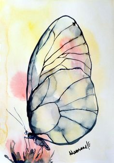 Butterfly watercolor painting, A4, 8x12 original artwork. Nature water color wall art for living room. Unique gift. Watercolour picture.