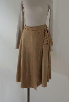 Camel suede skirt w/ waist tie