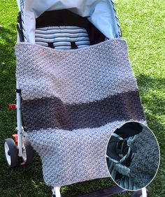 Free Knitting Pattern for Carseat Cover-up - A loop on the back of this easy double seed stitch baby blanket slips over the buckle to hold it in place in your baby's stroller or carseat. Designed by Karen Van Harten