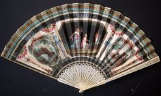 """""""Fan Du Grand Tour"""" Leaf Of Paper With An Engraving Intaglio Enhanced With Gouache, Scene Of 3 Graces Disarming A Putto With Ivory Mount Finely Pierced Decoration Of Stylized Flowers   c.18th Century"""
