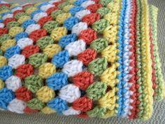 Crochet Afghan Squares | Crochet baby blanket granny square afghan blue green white orange ...