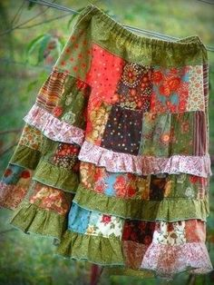 patchwork skirt tutorial. So cute! by Olive Oyl