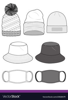 Bucket hat beanie mask set fashion template vector image on VectorStock Fashion Design Sketchbook, Fashion Design Portfolio, Fashion Design Drawings, Fashion Sketches, Drawing Fashion, Drawing Hats, Drawing Clothes, Fashion Design Template, Fashion Templates