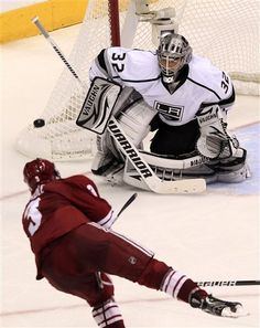 c8d9bec7e Los Angeles Kings  Jonathan Quick (32) makes a save on a shot by Phoenix  Coyotes  Keith Yandle (3) during the third period of Game 1 of the NHL  hockey ...