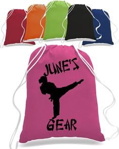 Girl Karate Martial arts Drawstring Closure Bag Backpack personalized wit name taekwondo judo - Karate Totebag - Taekwondo Totebag Backpack Bags, Tote Bags, Drawstring Backpack, Custom Tees, Direct To Garment Printer, State Art, Karate, How To Look Better, Shirt Designs