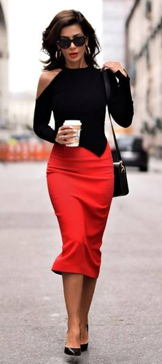 black and red outfit_top + bag + heels + pencil skirt