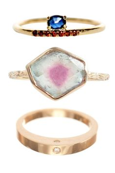 Stackable ring perfection Mociun Sapphire, Red Diamond, and Gold Ring, $874; at Mociun, Brooklyn   Digby & Iona at Catbird Tourmaline and Gold Ring, $1,200; catbirdnyc.com   Ariel Gordon Jewelry Gold and Diamond Ring, $920; arielgordon- jewelry.com