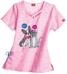 Medical Uniforms and Nursing Scrubs - Dickies Gen Flex That s So Cool Round Neck Scrub Top  Animal print, dog and cat scrubs