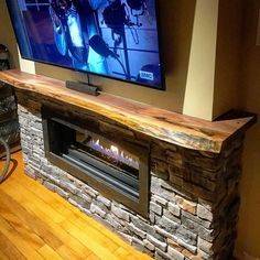 Custom Live Edge Black Walnut Mantel For A Client This One We Cut Larger Slab So It Wrapped Around The Fireplace Did Satin Clear Coat On