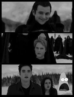The Twilight saga:) haha! Funny Twilight Quotes, Twilight Jokes, Funny Gags, Funny Memes, Hilarious, Funny Vid, Surprised Patrick, Twilight Saga Series, Twilight Book