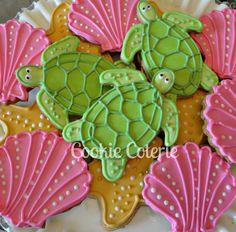 Items similar to Sea Creature Cookies Sea Turtle Starfish Sea Shell Sand Dollar Beach Theme Decorated Sugar Cookies Birthday Cookie Favors One Dozen on Etsy Turtle Cookies, Tea Cookies, Galletas Cookies, Fancy Cookies, Cupcake Cookies, Cupcakes, Flower Cookies, Cookie Designs, Cookie Ideas