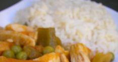 Ingredientes: pechuga de pollo cortada en trocitos pimiento verde cebolleta ajos tiernos guisantes congelados zanahorias baby congeladas s...