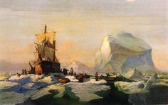 William Bradford Trapped in the Ice hand embellished reproduction on canvas by artist Canvas Art For Sale, Canvas Art Prints, Oil On Canvas, William Bradford, Albert Bierstadt, Romanticism, Famous Artists, Art Reproductions, Traditional Art