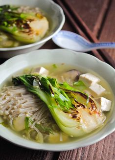 Soup recipe | Charred bok choy miso soup with asian veggies