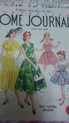 Australian home journal 1956 cover 50s fashion dresses...  Love the style in green