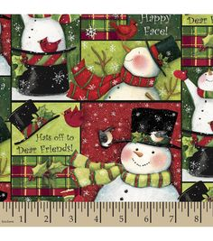 Holiday Inspirations™ Christmas Fabric-Susan Winget Snowmen Collage