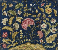 Georgian Embroidered Panel Panel embroidered in crewel wools on blue linen, possibly originally a chair seat cover, circa 1740 Crewel Embroidery Kits, Learn Embroidery, Embroidery Needles, Embroidery Patterns, Embroidery Works, Textiles, Seed Stitch, Fabric Decor, Wool Yarn