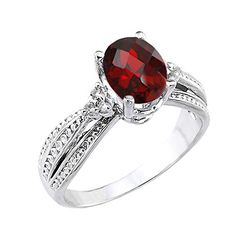 10k White Gold DiamondAccented Band Oval Garnet Engagement Ring Size 65 ** Click image for more details.