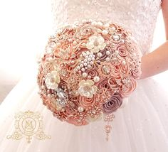 Check out this item in my Etsy shop https://www.etsy.com/listing/256565753/champagne-rose-gold-brooch-bouquet-blush