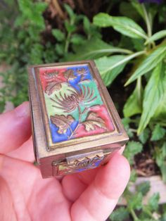 Small Vintage Cloisonne Stamp Box Ring Box by BlendedSplendid