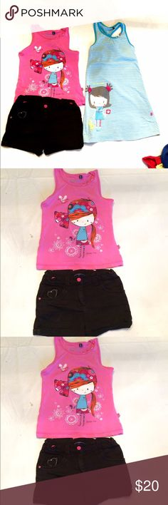 "Souris Mini girls dress, top & shorts bundle Souris Mini girls dress, top & shorts bundle, Souris Mini is Canadian French line of clothing that is like their version of Mini Boden, which is why it's tagged as Mini Boden, purchased at their store in Quebec, bundle includes pink tank top with matching shorts and blue striped racer back tank dress, trimmed with cute buttons, shorts have cat embellishment, EUC, adorable! See additional pics in another listing, dress - length 25.5"" waist 13"", top…"