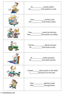 Present simple - positive and negative sentences - part 2 - Interactive worksheet Tenses English, English Writing, English Vocabulary, Teaching English, Grammar Exercises, Writing Exercises, English Activities, Class Activities, English Lessons