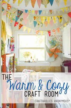 How cute is the fabric bunting in this Craft Room? It adds so much happiness to this creative studio!