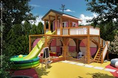 25 Fun Outdoor Playground Ideas For Kids Kids Backyard Playground, Backyard Playhouse, Backyard For Kids, Playhouse Plans, Playground Design, Backyard Ideas, Kids Outdoor Play, Kids Play Area, Play Areas