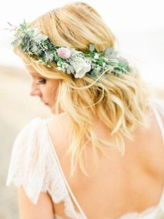 Soft waves and an ethereal flower crown: http://www.stylemepretty.com/little-black-book-blog/2015/01/23/coastal-united-kingdom-wedding-inspiration/ | Photography: Belle & Beau - http://belleandbeaublog.com/