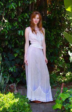 Long Sheer White Victorian Skirt by TavinShop on Etsy