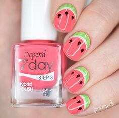 It's summer again soon, and it's the season of watermelon. It's cool and relieving the heat. It is really a must for the family. For a person who loves watermelon, how can manicure lack watermelon! Do you already have some ideas about it on your nails? Cute Acrylic Nails, Cute Nails, Watermelon Nail Art, Watermelon Nail Designs, Summer Gel Nails, Nail Art For Kids, Gel Nail Art Designs, Nail Designs For Kids, Kawaii Nails