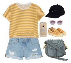 """""""Cropped Tee!"""" by lesclare ❤ liked on Polyvore featuring Monki, Chloé, NIKE, Agent 18 and Soludos"""
