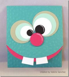 Such a cute card for kids! This would be easy to make - simple shapes (circles and squares really)