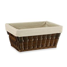 """Lined storage basket from BedBath&Beyond. Baskets are crafted from natural wood strips and finished with a lovely, rich dark color.  Nice size - 15"""" L x 11.75"""" W x 15"""" H.  Nice price - $14.99 each."""