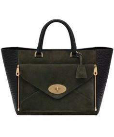 Mulberry Willow Tote bag, black shrunken calf with evergreen suede and matt gold hardware £1199