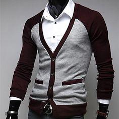 Moda Masculina camisola manga comprida Cardigan Casual de 2015 por R$83,78