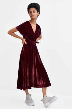Zara velvet women's midi dresses, compare prices and buy online Velvet Midi Dress, Midi Dresses Online, Bridesmaid Dresses, Bridesmaids, Zara, Shirt Dress, Formal, Maxis, Shirts