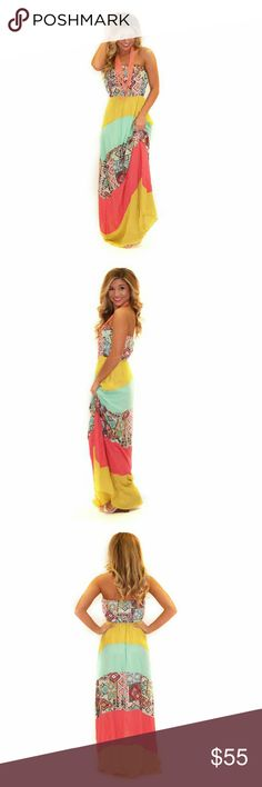 Walking in the Park Yellow Maxi Gorgeous boho strapless maxi dress! Festival Ready! Model is wearing size small. 100% Polyester Length: 53 inches (necklace not included) Dresses Maxi