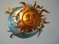 """Contemporary Metal Wall Art """"Colourful Sun And Moon"""" Sun Moon Stars, Sun And Stars, Metal Tree Wall Art, Metal Art, Contemporary Metal Wall Art, Outdoor Wall Art, Moon Decor, Sun Art, Colorful Wall Art"""