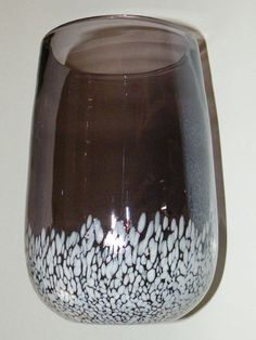 $24.99 Beautiful Blown Grey Luster Iridescent White Spatter Art Glass Vase Vintage | eBay