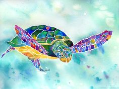 I just love her work! Sea Weed Sea Turtle Painting by Jo Lynch - Sea Weed Sea Turtle Fine Art Prints and Posters for Sale