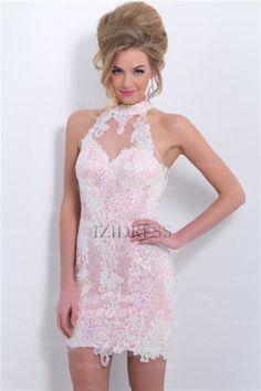 Sheath/Column High Neck Short/Mini Lace Prom Dress - IZIDRESS.com at IZIDRESSES.com