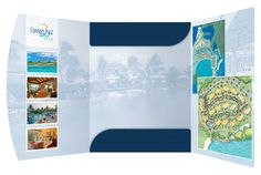 this tri fold design is unique and offers plenty of room for marketing copy and images. The small pockets in the middle can hold all of your promotional materials!